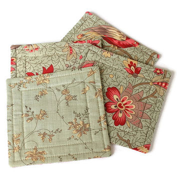 Coasters, Quilted Floral Coasters, Fabric Coasters, Reversible Coasters, Beverage Mats, Set of 4 Coasters, Quiltsy Handmade