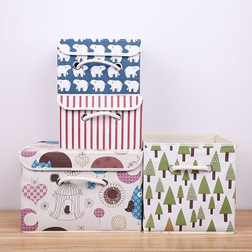 Cotton And Linen Cotton Printing Receive A Case Size Small Bin Sorting Cassette Cover Receive A Case Of Cotton Rope Handle