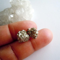 Raw Pyrite Stud Earrings - Mineral Specimen Earrings - Natural History- Sterling Silver