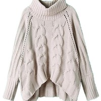 Choies Women's Acrylic Loose High Neck Chunky Cable Long Sleeve Sweater, Beige, M