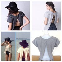 NEW Woman's Sexy Backless Top Cover Shirt Grey Coupled With Bra Bralette Festival Beach Cute Fashion Wear Open Back Cut Out