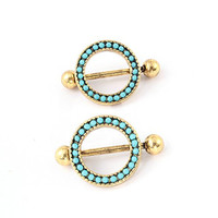 1 Pair 361l Stainless Steel Sexy Lady Jewelry Shields Nipple Body Jewelry Piercing Ring Antique Gold Plated Nipple Rings