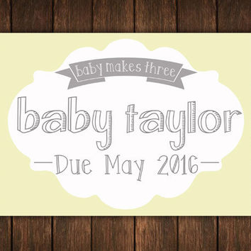 Baby Announcement, Yellow And Grey, Baby Revel Card, Baby Reveal Sign, Pregnancy Announcement, Pregnancy Reveal