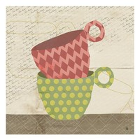 Green Leaf Art 'Colorful Stacked Cups' Wall Art - Beige