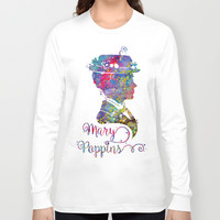 Mary Poppins Portrait Silhouette Long Sleeve T-shirt by Bitter Moon