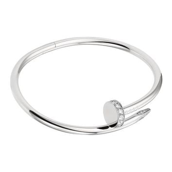 BeadyBoutique Love Nail Bracelet - White Gold with Swarovski Crystal