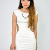 White Fitted Mini Dress with Cutout Waist & Scoop Back