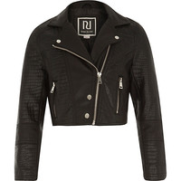 River Island Girls black leather-look cropped biker jacket