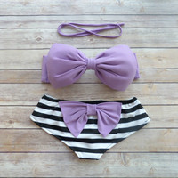 Bow Bandeau Bikini - Cheeky Boy Short Style Swimwear -  With Bow on Butt  - Purple with Stripes - Unique & So Cute!