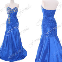 Mermaid Strapless with Crystal Taffeta Royal Blue Prom Dresses, Royal Blue Evening Gown,Wedding Party Dresses, Formal Gown
