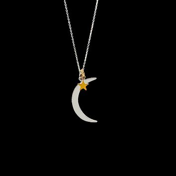 Crescent Moon Star Necklace