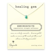 healing gem hemimorphite necklace, sterling silver