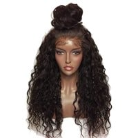 Fashion Style Fluffy Long Curly Lace Frontal Synthetic Wig Full Wig Corn Wave Wig for Women