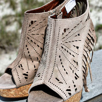 Summer Sensation Taupe Suede Fringe Wedges