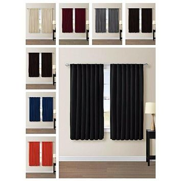 """Thermal Insulated Blackout Window Curtain Back Tab Panels -1 Pair 104""""Wx63""""L"""