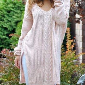 Women's long V-neck solid color loose sweater