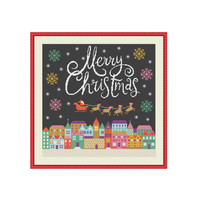 Merry Christmas cross stitch, Christmas cross stitch pattern, Silent night, Santa Claus, Santa Clause, Modern cross stitch, Instant download