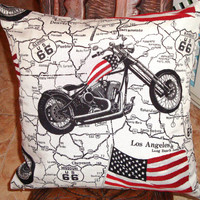 American flag - Power star Retro woven motorcycle pillow 18x18