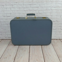 Vintage Blue Lady Baltimore Hardside Suitcase With Tag and Key