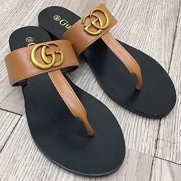 LV Louis vuitton GG letter gold buckle ladies casual sandals slippers Shoes Brown