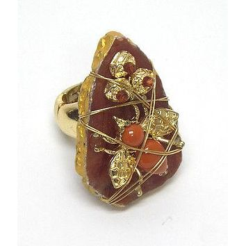 Gold Multi beads on stone with covered wire stretch bug ring