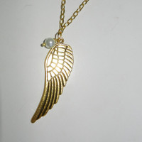 Large Gold Angel Wing Necklace With Pearl
