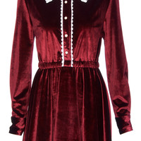 ROMWE | ROMWE Long-sleeved Burgundy Velvet Dress, The Latest Street Fashion