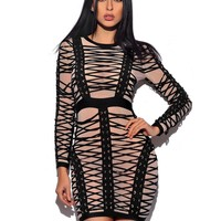 Mariama Lattice Lace Up Detail Long Sleeve Bandage Dress