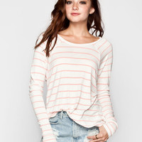 Volcom Lived In Rib Womens Tee White/Pink  In Sizes