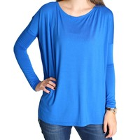 Blue Piko Long Sleeve Top