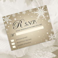 DIY Printable Wedding RSVP Template | Editable MS Word file | 5.5 x 4.25 | Instant Download | Winter White Snowflakes Champagne Gold