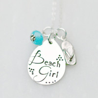 Hand Stamped Jewelry - Beach Necklace - Personalized Necklace- Flip Flop Necklace