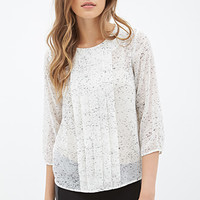 LOVE 21 Speckled Pintucked Blouse Cream/Black