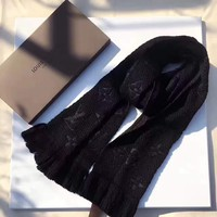 LV Louis Vuitton trend women's wild autumn and winter models warm cashmere scarf black