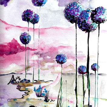 Blue Alliums Original Watercolor and Ink