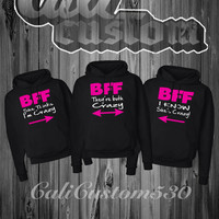 """3 Matching BFF """"She Think I'm Crazy """" , """" I Know She's Crazy """" And """" They're Both Crazy"""" Black Hoodies"""