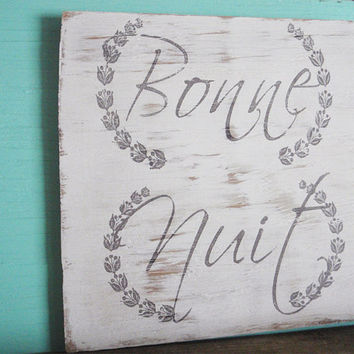 Rustic bedroom wall decor, French bedroom wall decor, Bedroom wall art, Bedroom sign, Bonne Nuit sign, Bedroom decor, Housewarming gift