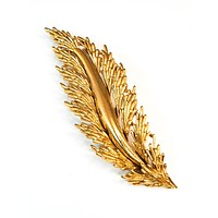 Crown Trifari brushed gold leaf signed vintage brooch pin nature fall