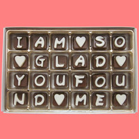 I Am So Glad You Found Me Cubic Chocolate Letters Funny Romantic Valentines Day Anniversary Gift for Girlfriend Boyfriend Men Women Him Her
