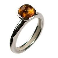 Amber and Sterling Silver Round Ring