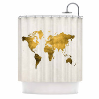"Chelsea Victoria ""Let Love Light The Way"" Gold Love Shower Curtain"