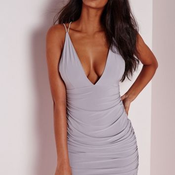 Missguided - Slinky Double Strap Ruche Bodycon Dress Grey