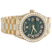 18K Gold 36mm Rolex President Day-Date 18038 Diamond Watch Green Dial 10.27 CT.