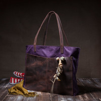 Waxed canvas tote bag - wax canvas bag - shoulder strap bag - leather bag - purple plum - with leather pocket