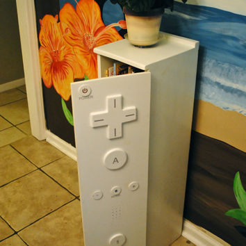 """Children's """"Wii controler"""" bookcase/ cabinet with a twist"""