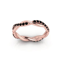 Twist Band 14K Rose Gold  ring with Black diamonds wedding band