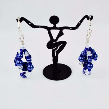 Blue Glass Pearls Crystal Chandelier Earrings
