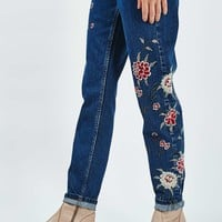 MOTO Dark Blue Embroidered Mom Jeans - New In This Week - New In