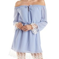 Lilac Flouncy Off-The-Shoulder Dress by Charlotte Russe