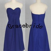 2014 cheap royal blue gowns for holiday party simple fashion design bridesmaid dress short chiffon prom dress simple custom homecoming dress